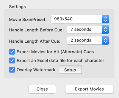 Export Movies and Export WAV Files Windows
